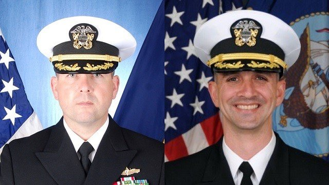 Former USS Fitzgerald commander Cmdr. Bryce Benson (left), Former USS John S. McCain commander Cmdr. Alfredo J. Sanchez (right). (Source: USNI)
