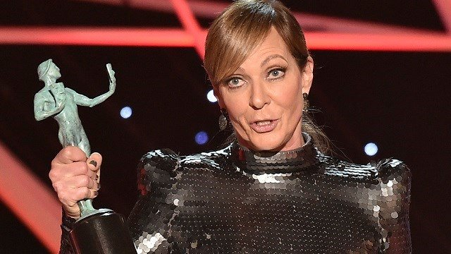 "(Photo by Vince Bucci/Invision/AP) Allison Janney accepts the award for outstanding performance by a female actor in a supporting role for ""I, Tonya"" at the 24th annual Screen Actors Guild Awards at the Shrine Auditorium & Expo Hall."
