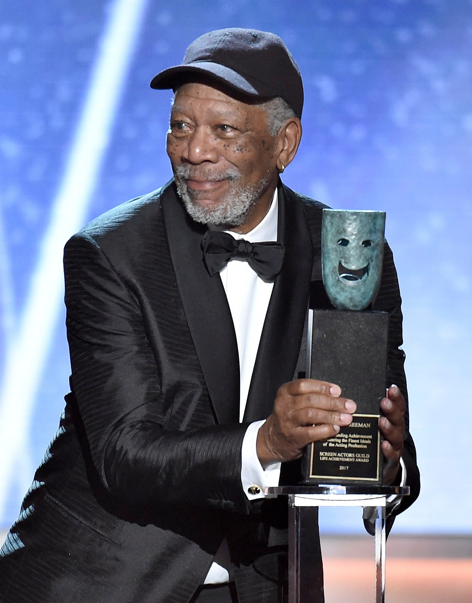 Morgan Freeman accepts the Life Achievement Award at the 24th annual Screen Actors Guild Awards at the Shrine Auditorium & Expo Hall on Sunday, Jan. 21, 2018, in Los Angeles. (Photo by Vince Bucci/Invision/AP)