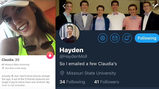 Missouri State student emails all campus 'Claudias' over missed Tinder connection