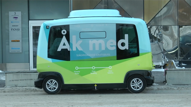 "The minibuses use 'LiDAR' technology - meaning 'Light Detection and Ranging' - an array of sensors that enable self-driving vehicles to ""see"" what's around them so they can safely navigate roads. (Photo: AP)"