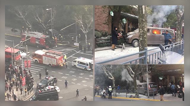 Van ploughs into pedestrians causing chaos in Shanghai, China