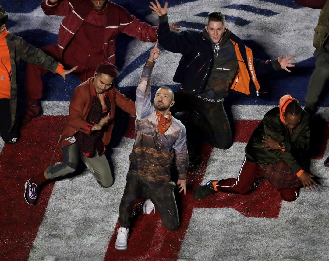 Justin Timberlake performs during halftime of the NFL Super Bowl 52 football game Sunday Feb. 4 2018 in Minneapolis