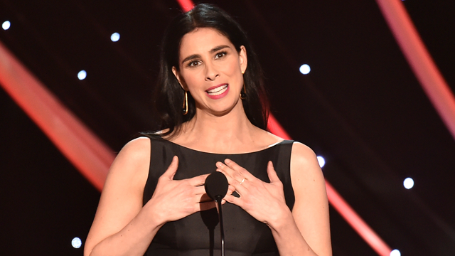 Sarah Silverman presents the award for outstanding performance by a female actor in a supporting role at the 24th annual Screen Actors Guild Awards. (Photo by Vince Bucci/Invision/AP)