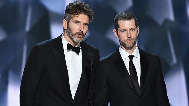 "(Photo by Vince Bucci/Invision for the Television Academy/AP Images) David Benioff, left, and D.B Weiss accept the award for outstanding writing for a drama series for ""Game of Thrones"" at the 68th Primetime Emmy Awards on Sunday, Sept. 18, 2016."