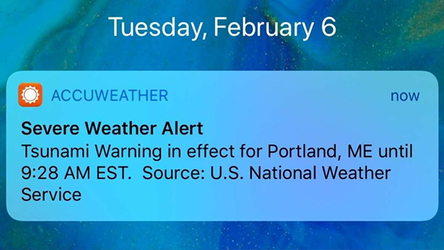 (AP Photo/Jeremy DaRos) Some people on the East Coast got a push alert on their phones Tuesday, Feb. 6, 2018, about a tsunami warning, but the National Weather Service says it was just a test.