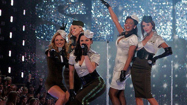 The Spice Girls perform at the Victoria's Secret Fashion Show, Thursday, Nov. 15, 2007, in Los Angeles. They are, from left, Geri Halliwell, Emma Bunton, Melanie Chisholm, Melanie Brown and Victoria Beckham. (AP Photo/Mark J. Terrill)