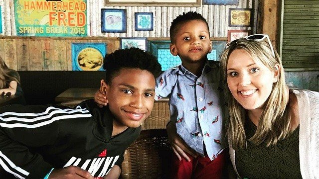 Chelsea Haley poses with adopted sons Jerome (left) and Jade (center). (Source: Chelsea Haley via CNN)