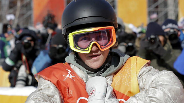 (AP Photo/Lee Jin-man). Red Gerard, of the United States, reacts after his run during the men's slopestyle final at Phoenix Snow Park at the 2018 Winter Olympics in Pyeongchang, South Korea, Sunday, Feb. 11, 2018.