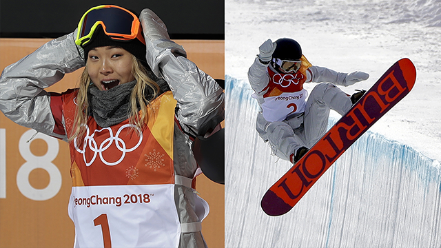 Chloe Kim, of the United States, reacts to her score during the women's halfpipe finals at Phoenix Snow Park at the 2018 Winter Olympics in Pyeongchang, South Korea, Tuesday, Feb. 13, 2018. (AP Photo/Gregory Bull)
