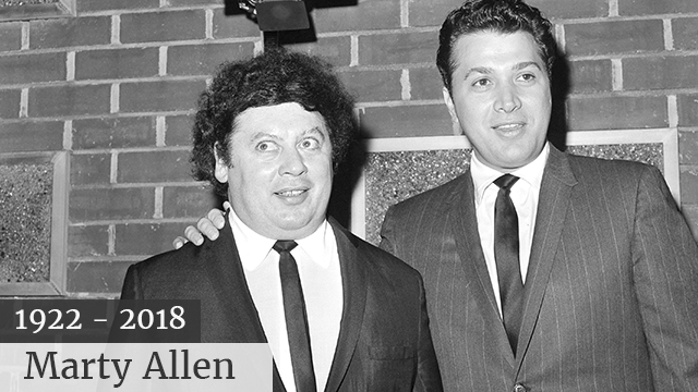 In this Dec. 10, 1965, file photo, the comedy team of Marty Allen, left, and Steve Rossi, now making their first film on the Paramount lot in Los Angeles. Allen's spokeswoman Candi Cazau says he died Monday, Feb. 12, 2018, of complications from pneumonia.