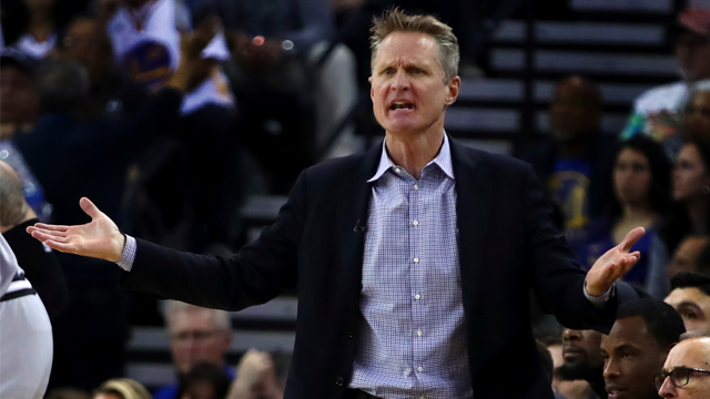 Golden State Warriors coach Steve Kerr gestures on the sideline during the first half of an NBA basketball game against the San Antonio Spurs, Saturday, Feb. 10, 2018, in Oakland, Calif. (AP Photo/Ben Margot)