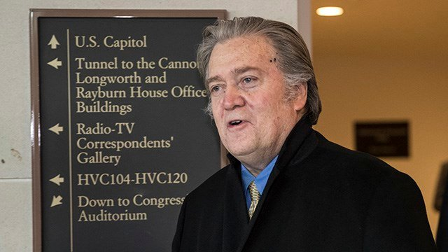 Steve Bannon, President Donald Trump's former chief strategist, arrives for questioning by the House Intelligence Committee as part of its ongoing investigation into meddling in the U.S. elections by Russia, at the Capitol in Washington, Thursday, Feb. 15