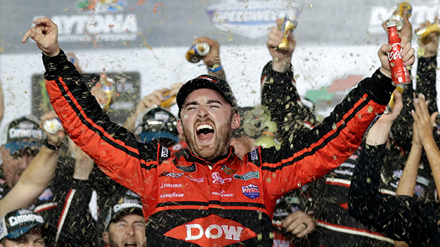 Austin Dillon celebrates in Victory Lane after winning the NASCAR Daytona 500 Cup series auto race at Daytona International Speedway in Daytona Beach, Fla., Sunday, Feb. 18, 2018. (AP Photo/Chuck Burton)