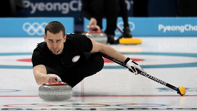 In this Feb. 7, 2018 file photo, Russian curler Alexander Krushelnitsky practices ahead of the 2018 Winter Olympics in Gangneung, South Korea. (AP Photo/Aaron Favila, File)