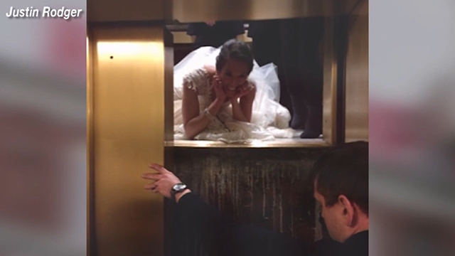 Bride gets stuck in elevator, almost misses reception