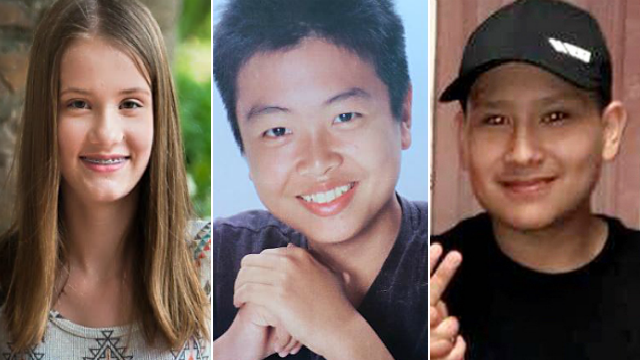 Junior ROTC cadets Alaina Petty (left), Peter Wang (center) and Martin Duque (right) will receive the Medal of Heroism for their actions in a deadly Florida school shooting. (CNN)