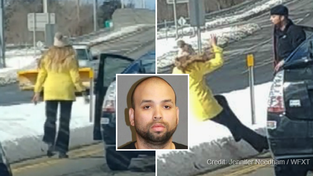 Video appears to show a man shoving a woman to the ground in an alleged road rage incident. (Jennifer Needham, WFXT via CNN)