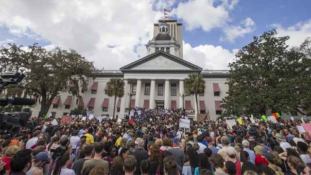 Protesters rally against gun violence on the steps of the old Florida Capitol in Tallahassee, Fla., Wednesday, Feb 21, 2018. (AP Photo/Mark Wallheiser)