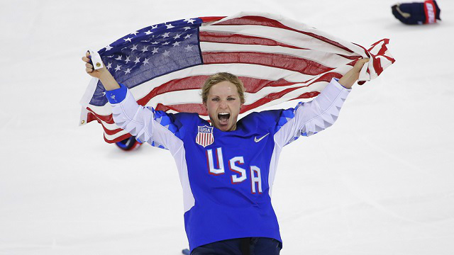 Jocelyne Lamoureux-Davidson (17), of the United States, celebrates after winning against Canada in the women's gold medal hockey game at the 2018 Winter Olympics in Gangneung, South Korea. (AP Photo/Matt Slocum)