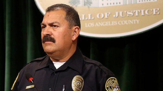 School district security officer Marino Chavez talks during a news conference in downtown Los Angeles on Wednesday, Feb. 21, 2018.  (AP Photo/Mike Balsamo)