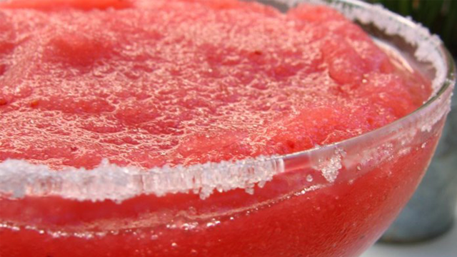 Pictured here is the Ultimate Frozen Strawberry Margarita! Want to make it? Click the photo in the slideshow! (Allrecipes.com)