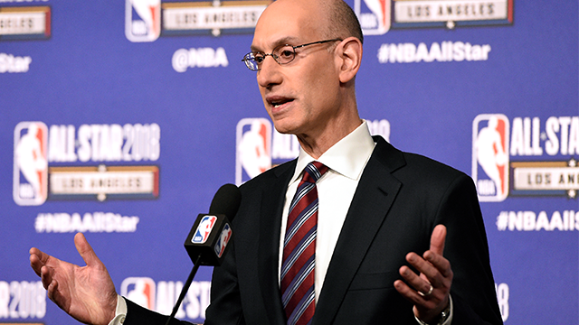 National Basketball Association commissioner Adam Silver speaks to the media during All-Star basketball game festivities, Saturday, Feb. 17, 2018, in Los Angeles. (AP Photo/Chris Pizzello)