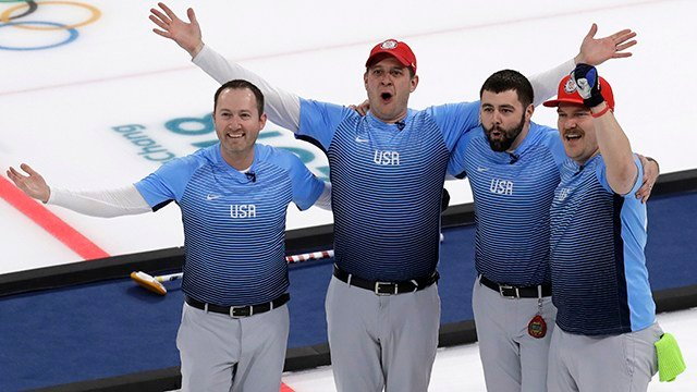 United States team celebrate during the men's curling finals match against Sweden at the 2018 Winter Olympics in Gangneung, South Korea, Saturday, Feb. 24, 2018. United States won gold.