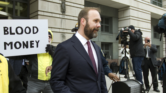 Rick Gates leaves federal court in Washington, Friday, Feb. 23, 2018. Gates, a former top adviser to President Donald Trump's campaign pleaded guilty in the special counsel's Russia investigation to federal conspiracy and false statements charges. (AP)