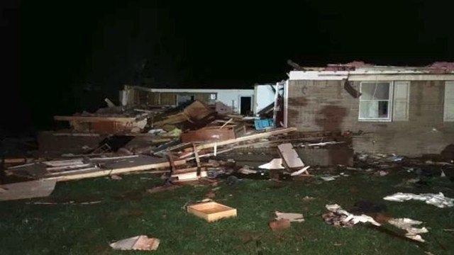 Home destroyed on Dot Road in Adairville, Kentucky.