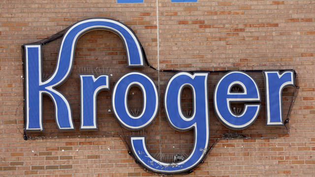 This Thursday, June 15, 2017, photo shows a Kroger grocery store logo at a store in Flowood, Miss. The Kroger Co. reports earnings, Friday, Sept. 8, 2017. (AP Photo/Rogelio V. Solis)