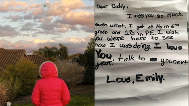 Emily loves to send her late father letters to let him know about her life. But when a stranger found one of her letters, they knew they had to do something. (CNN/KSBW)