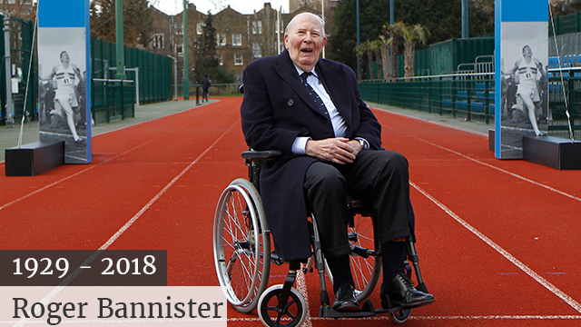 (AP Photo/Sang Tan) British athlete Roger Bannister celebrates the 60th anniversary of being the first man to run a sub-four minute mile in May 1954. He died at the age of 88.