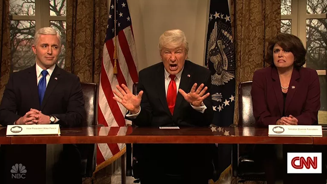 "(NBC via CNN) Alec Baldwin brought back his infamous President Trump impersonation during ""Saturday Night Live"" on March 3, 2018."