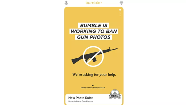 (CNN) Bumble is banning photos with guns from its platform.