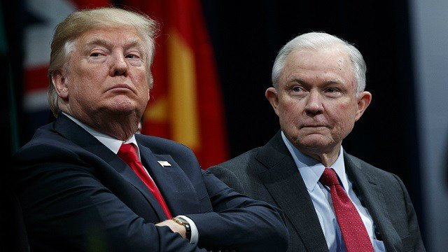 In this Dec. 15, 2017 file photo, President Donald Trump, left, sits with Attorney General Jeff Sessions. (AP Photo)