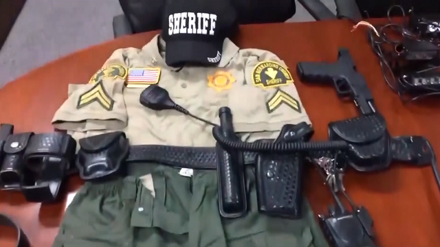 The 14-year-old was arrested after deputies found counterfeit money, fake guns, ballistic vests and other law enforcement-related items in his home. (San Bernardino County Sheriff's Office)