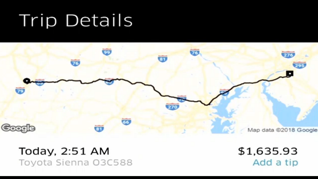 Kenneth Bachman did the responsible thing. He was at a party and knew he probably shouldn't drive home so he called an Uber. What he didn't expect was the $1,600 bill he got. (KYW via CNN)