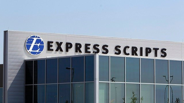 This July 21, 2011, file photo shows a building on the Express Scripts campus in Berkeley, Mo. (AP Photo/Jeff Roberson, File)