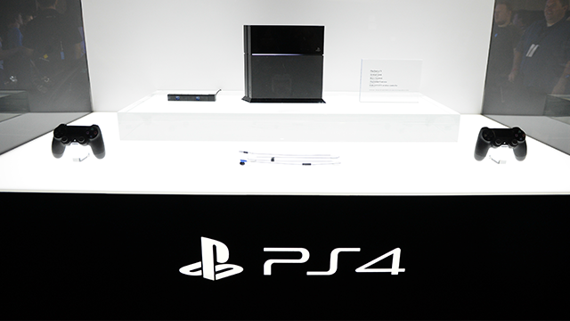 The Sony PS4 console is on display at the GameStop Expo in Las Vegas on Wednesday, Aug. 28, 2013 in Las Vegas. (Photo by Al Powers/Invision/AP)