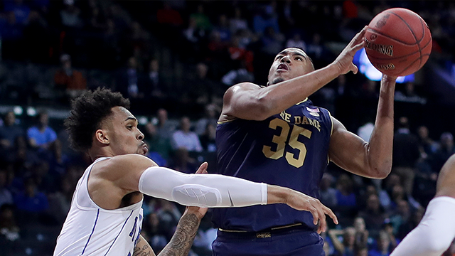 Notre Dame forward Bonzie Colson (35) shoots against Duke guard Gary Trent Jr. (2) during the first half of an NCAA college basketball game in the Atlantic Coast Conference men's tournament Thursday, March 8, 2018, in New York. (AP Photo/Julie Jacobson)