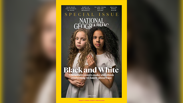 In this image provided by National Geographic, the cover of the April 2018 issue of National Geographic magazine, a single topic issue on the subject of race. (National Geographic via AP)