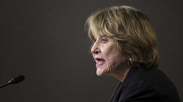 Co-Chair of the Pro-Choice Caucus Rep. Louise Slaughter, D-N.Y., speaks during a news conference on Capitol Hill in Washington, Tuesday, March 25, 2014. (AP Photo/ Evan Vucci)
