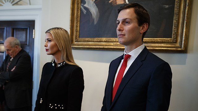 White House senior adviser Jared Kushner, right, stands with Ivanka Trump and White House Chief of Staff John Kelly during a cabinet meeting with President Donald Trump at the White House, Thursday, March 8, 2018, in Washington. (AP Photo/Evan Vucci)