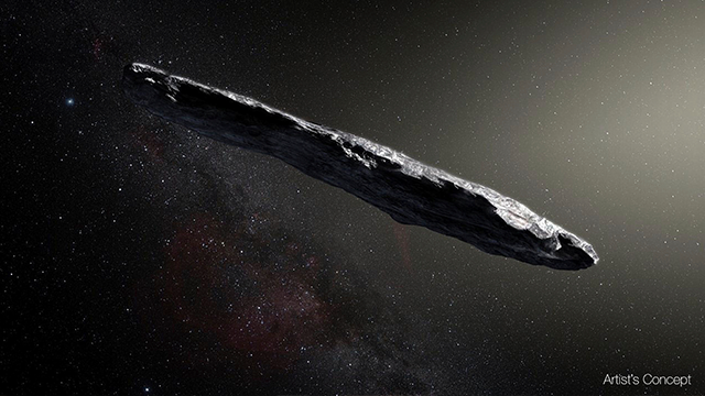 This artist's rendering shows the first interstellar asteroid'Oumuamua. This unique object was discovered on Oct. 19 2017 by the Pan-STARRS 1 telescope in Hawaii