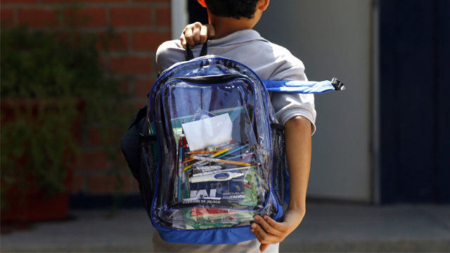 When students of Marjory Stoneman Douglas return to class after spring break next week, they'll be required to carry clear backpacks. (Photo: Hector Guerrero/AFP/Getty Images via CNN)