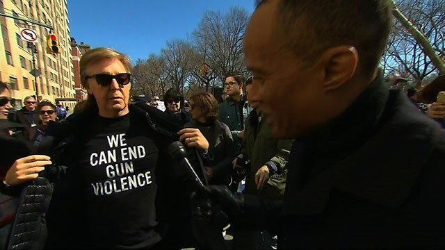 Paul McCartney was at the march in New York, close to the site where his friend John Lennon was shot to death | WSMV 4