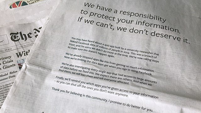 Facebook Takes Out Newspaper Ads To Apologize For Cambridge Analytica Scandal
