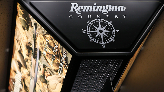 Remington products hangs from the ceiling at Duke's Sport Shop in New Castle Pa