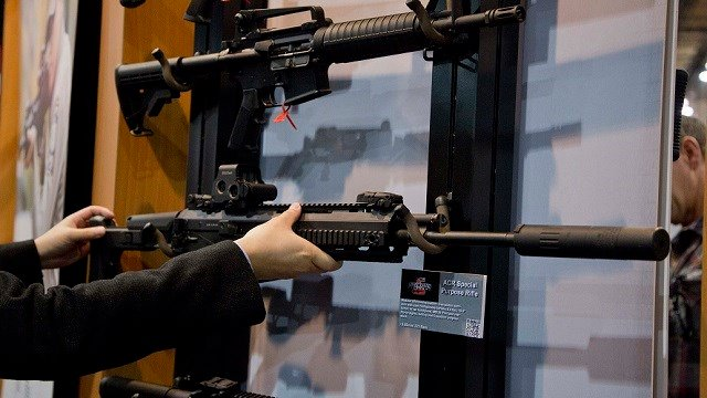 A military grade Remington ACR Special Purpose Rifle is displayed at the 35th annual SHOT Show, Tuesday, Jan. 15, 2013, in Las Vegas.